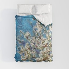 Blossom and Blue Sky In Monet Style Comforters