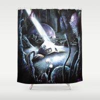 hayao miyazaki Shower Curtains featuring Nausicaä, Tribute to Hayao Miyazaki by Don Giancarli