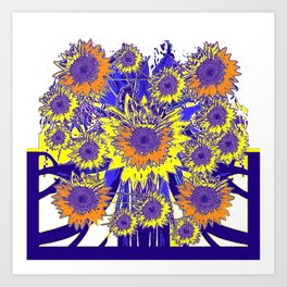 Sunflower Field Blue Shadows Abstract Art Print