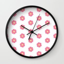 Pink Flowers Wall Clock