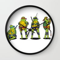 teenage mutant ninja turtles Wall Clocks featuring Teenage mutant ninja turtles by Nioko