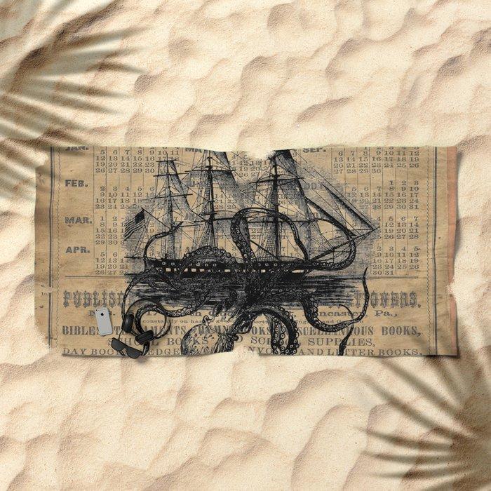 Octopus Kraken attacking Ship Antique Almanac Paper Beach Towel