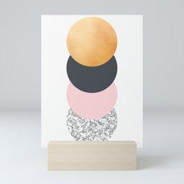 Geometric Circles - Gold Slate and Pink Blush Mini Art Print