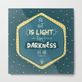 """God is Light"" Hand-Lettered Bible Verse Metal Print"