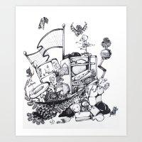 Crows in the Junkyard Art Print