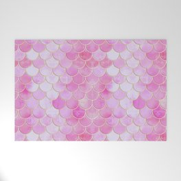 Pink Pearlescent Mermaid Scales Pattern Welcome Mat