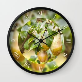 Pear tree fruits grow on twig Wall Clock