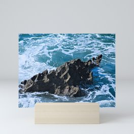 Stormy Sea Coastal Eroded Rock Mini Art Print