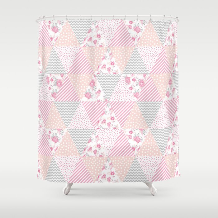 Pink Soft Flowers Triangle Quilt Pattern Print For Home Decor Nursery Craft Room Shower Curtain