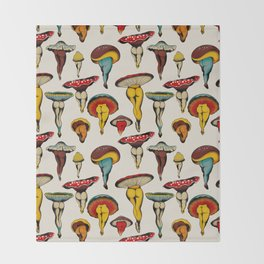 Sexy mushrooms Throw Blanket