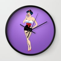 pinup Wall Clocks featuring PinUp by AnishaCreations