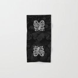 Octopus1 (Black & White, Square) Hand & Bath Towel