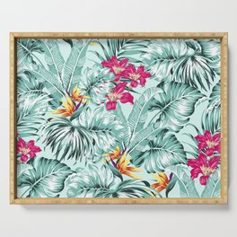 Bird of Paradise Greenery Aloha Hawaiian Prints Tropical Leaves Floral Pattern Serving Tray