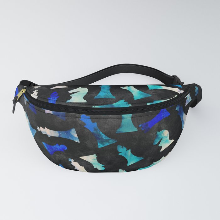 Chess Figures Pattern -Watercolor Blue and Teals Fanny Pack