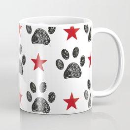 Doodle paw print and red shining star Coffee Mug