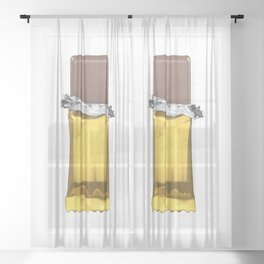 Chocolate candy bar in gold wrapper Sheer Curtain
