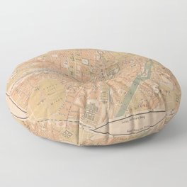 Vintage Map of Munich Germany (1890) Floor Pillow