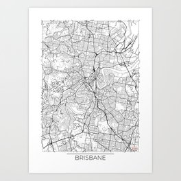 Brisbane Map White Art Print