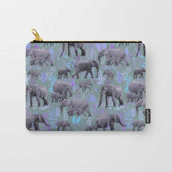 Sweet Elephants in Purple and Grey Carry-All Pouch