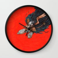 birdman Wall Clocks featuring Birdman by Anna Landin