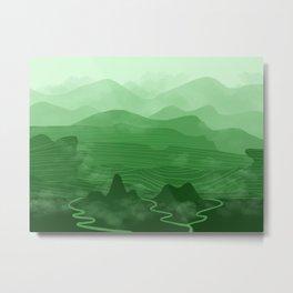 Misty Mountain Green Metal Print