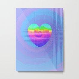 Fractal Art- Heart Art- Rainbow Heart- Blue Heart- Oh My Henry Metal Print