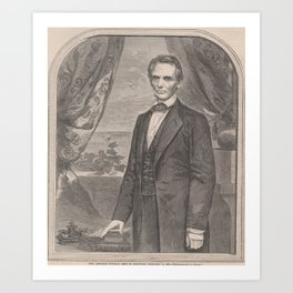 Vintage Abraham Lincoln Illustrative Portrait (1860) Art Print