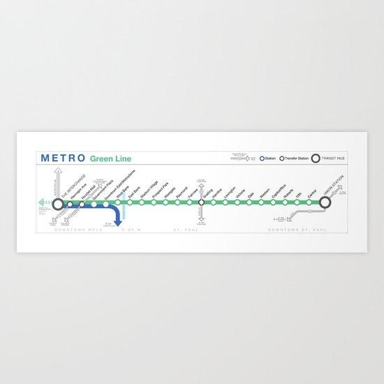 Twin Cities METRO Green Line Map Art Print