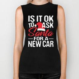 Is It Ok To Ask Santa For A New Car Funny Christmas Car motorsport Xmas  Biker Tank