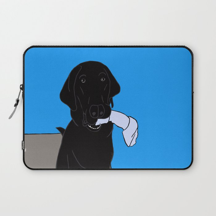 Black Lab With A Bone Laptop Sleeve