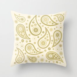 Paisley Funky Design Gold & Cream Throw Pillow