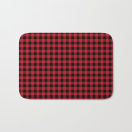 Winter red and black plaid christmas gifts minimal pattern plaids checked Bath Mat