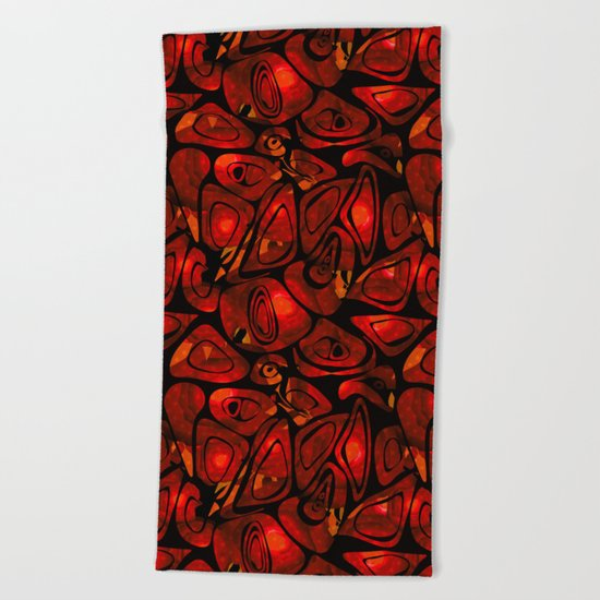 Abstract red black pattern stone texture Beach Towel