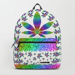 Rainbow Gems Cannabis Leaf (on White) Backpack