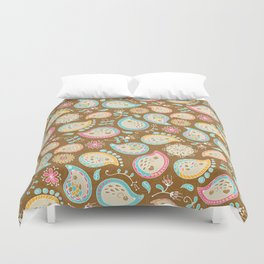 Hedgehog Paisley_Colors and Cocoa Duvet Cover