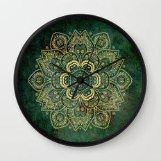 Golden Flower Mandala on Dark Green Wall Clock