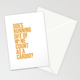 Wine Connoisseur Funny Running Out Of Wine As A Cardio Stationery Cards