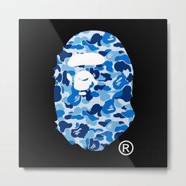 Bape Head Camo Blue Metal Print