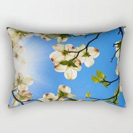 Sunlit Dogwood Blooms Rectangular Pillow