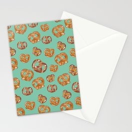 Pretzels on Mint Green _digital oil painting  Stationery Cards