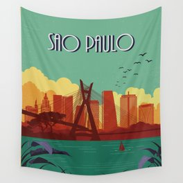 Sao Paulo vintage poster travel Wall Tapestry