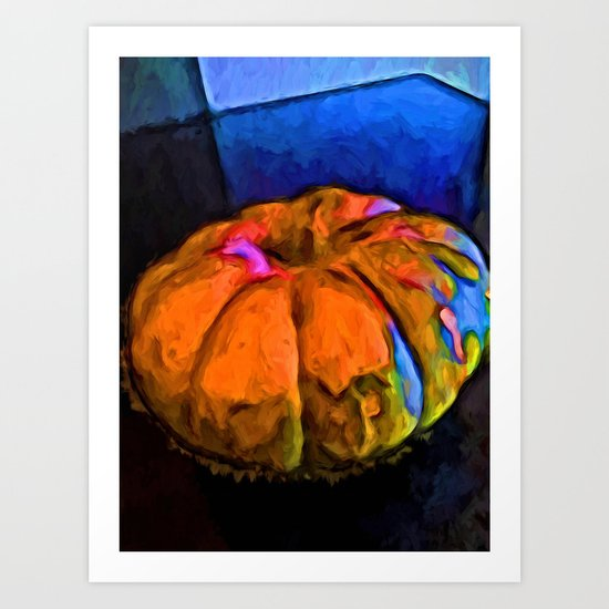 Beautiful Orange Pumpkin with some Blue and Pink Art Print