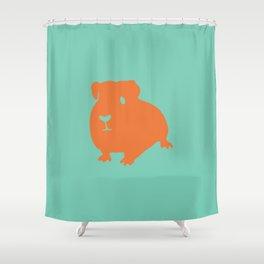 Guinea Pig in Orange on Electric Cyan Blue Green Shower Curtain