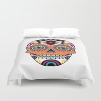 deco Duvet Covers featuring Deco Skull by Jorge Garza