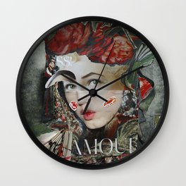 Cheek kiss left, cheek kiss right Wall Clock