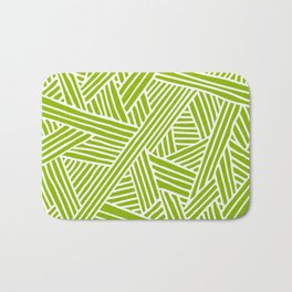 Abstract apple green & white Lines and Triangles Pattern- Mix and Match with Simplicity of Life Bath Mat