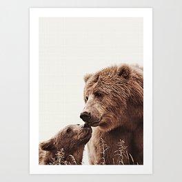 Woodlands Nursery Decor, Bear Mother Print, Baby Bear Print Art Print
