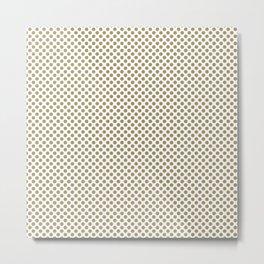 Khaki Polka Dots Metal Print