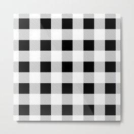 western country french farmhouse black and white plaid tartan gingham print Metal Print