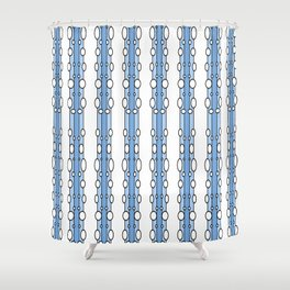 Hand Drawn Blue Vertical Stripes with Circle Geometric Shapes Shower Curtain